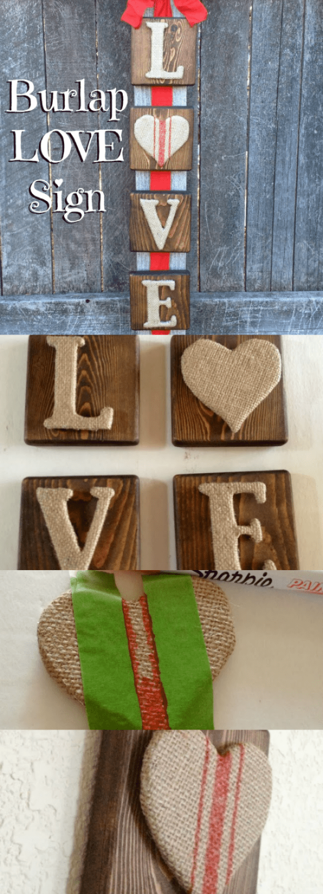 Check out this super fun and easy Burlap Letter Wooden Sign for Valentine's Day!