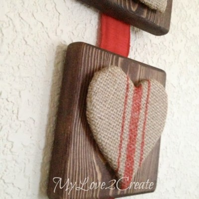 Burlap Letter Wooden Sign For Valentine's Day