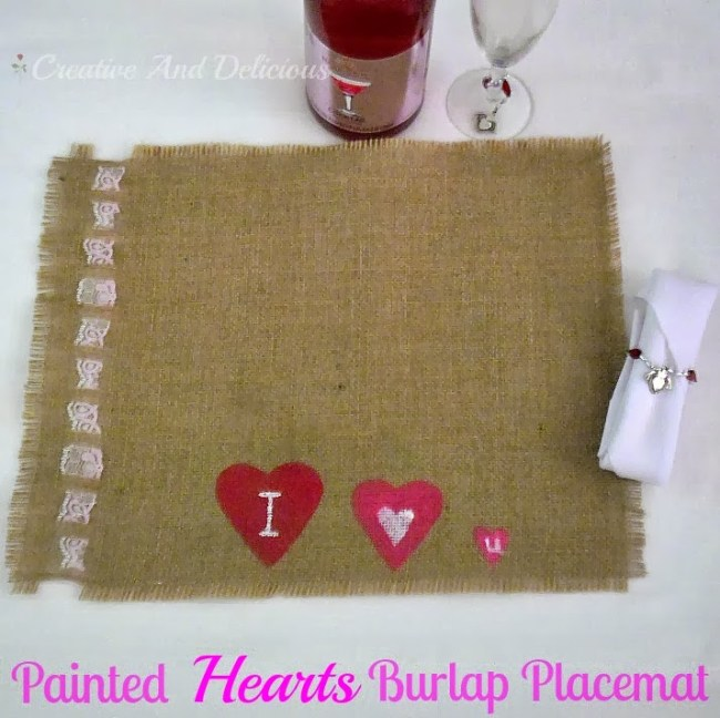 Painted Hearts Burlap Placemat