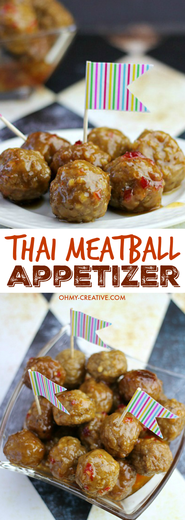 This Thai Meatballs Recipe is delicious Crock Pot dish perfect for any occasion! Great when hosting parties or to take on the go, this dish will deliver! | OHMY-CREATIVE.COM #meatballappetizer #thaimeatballs