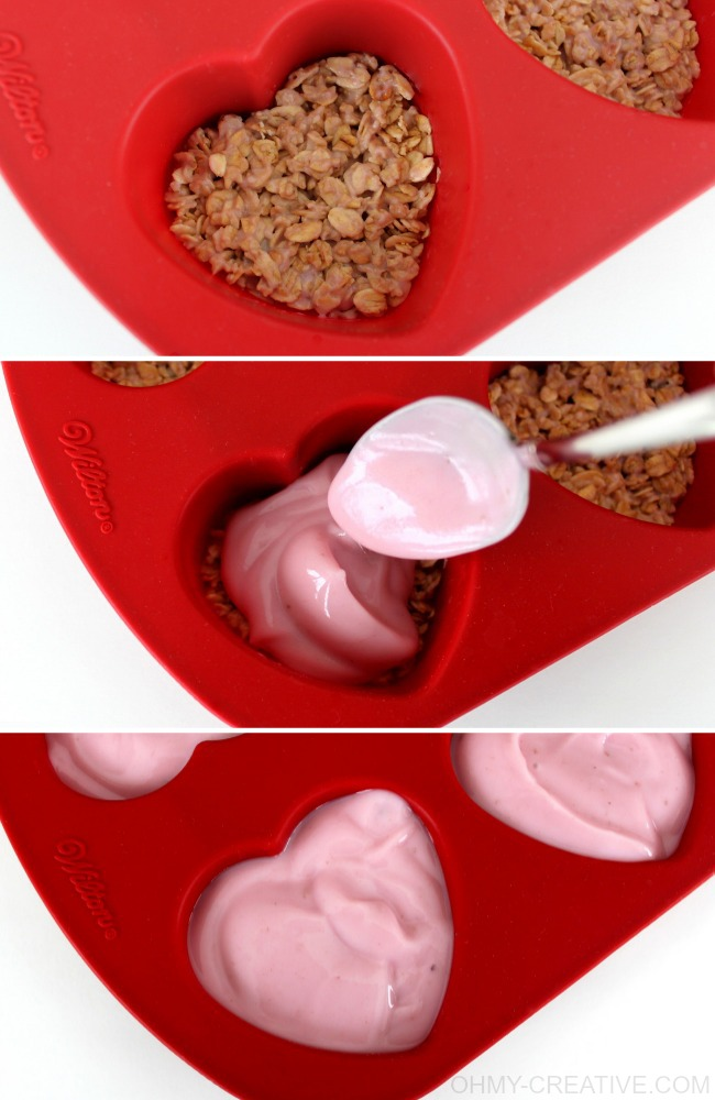 Use granola and yogurt to make these Frozen Yogurt Hearts With Granola | OHMY-CREATIVE.COM