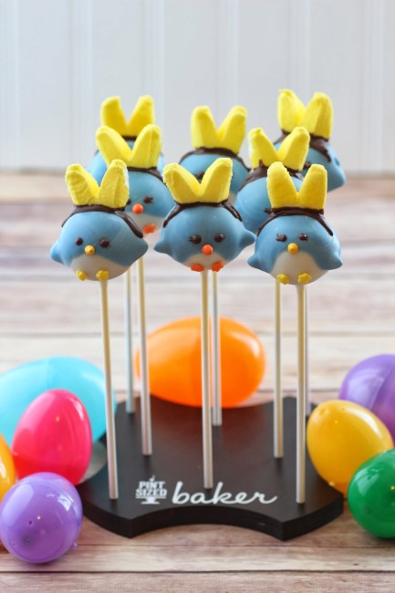 Easter Blue Chick Cake Pops made with cake balls made into pops featuring bunny ears and wings