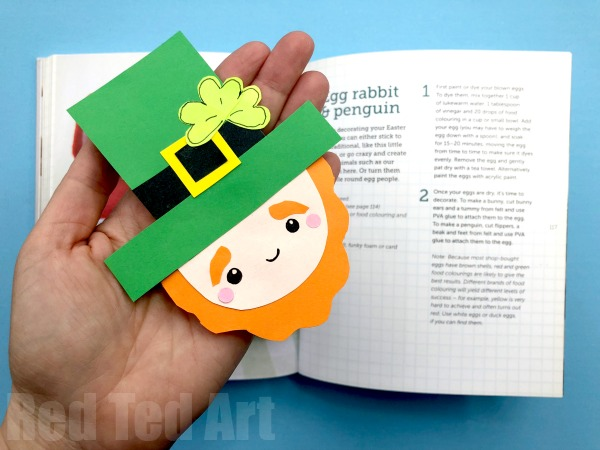 Bookmark Leprechaun Craft made of construction paper.