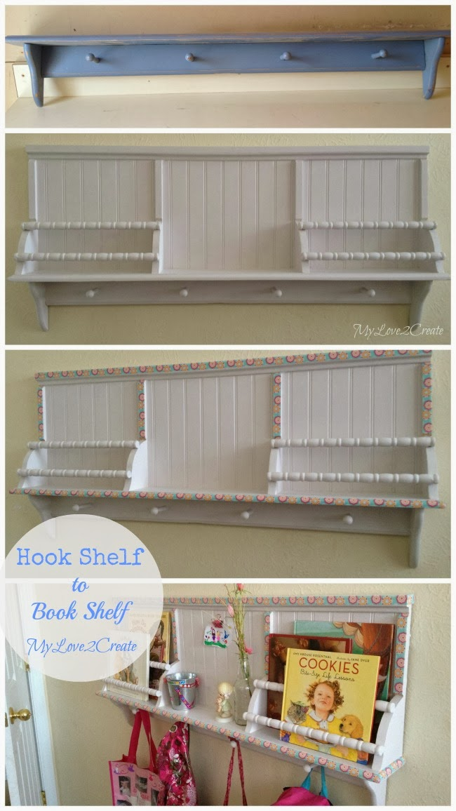 Hook shelf into book shelf