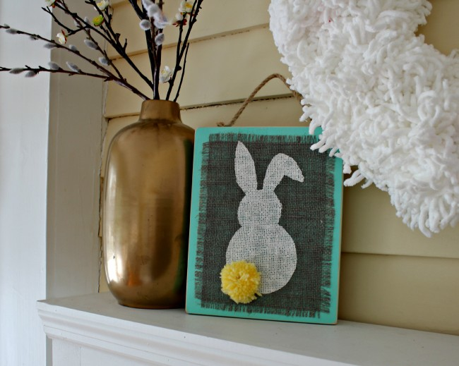 Check out our fun Easter craft making simple Stenciled Burlap Bunny Plaques that are ideal for hanging!
