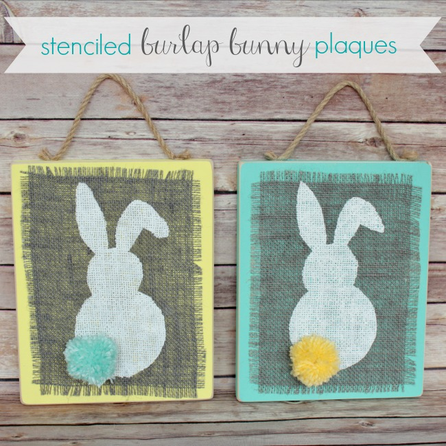 Stenciled Burlap Bunny Plaques | Oh My! Creative
