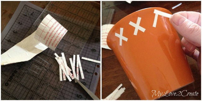 cut strips of contact paper to put on pots