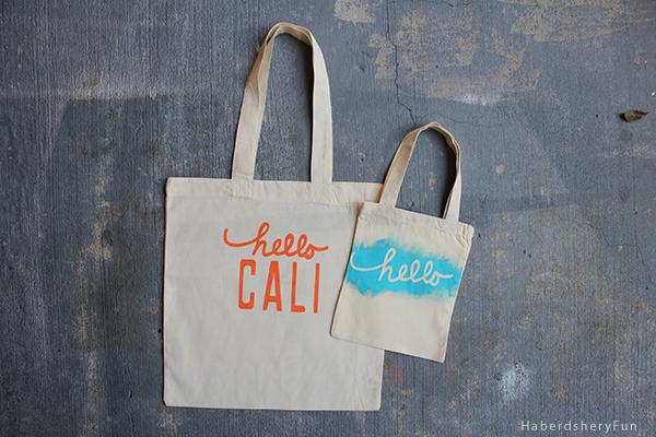 Hello Stencil Tote Bag