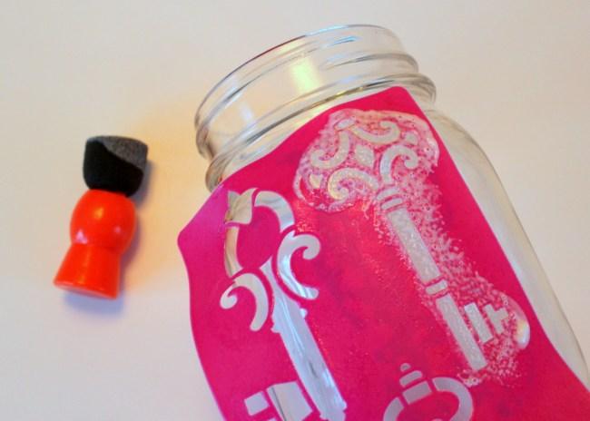 Mod Podge key sticky stencil