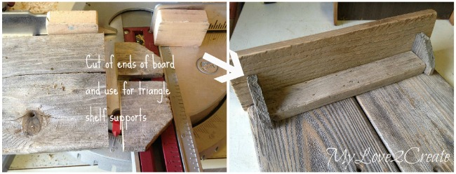 Using ends of fence to make shelf supports