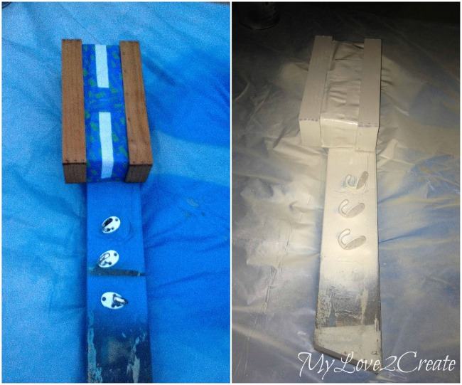 Spray painting wood and hooks
