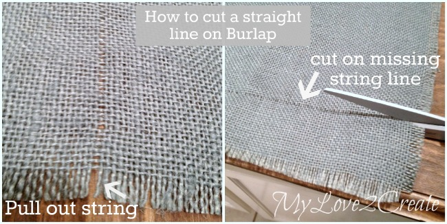 how to cut a straight line on burlap