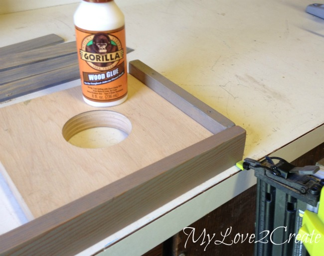 gluing and nailing wood together