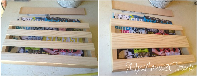 testing out different designs for DIY Magazine Rack