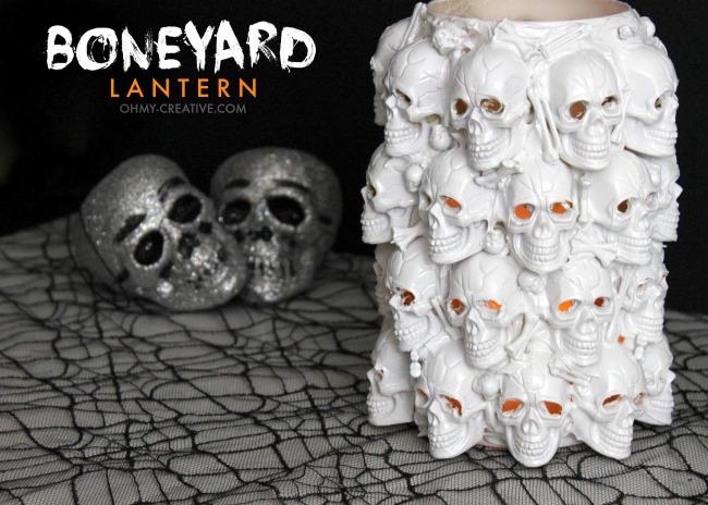 DIY Boneyard Lantern - a Pottery Barn knock off for Halloween  |  OHMY-CREATIVE.COM
