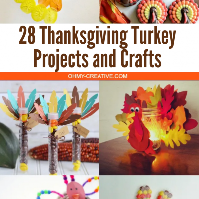 A collage of different turkey crafts for Thanksgiving