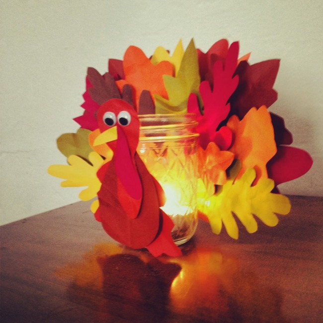 Turkey Leaf Candle made from a mason jar and paper leaves. Add a tee light for a pretty glow.