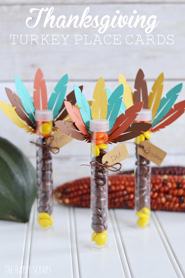 Candy tubes are a creative way to make these thanksgiving turkey place cards. Add a tag to make them a place card on the table