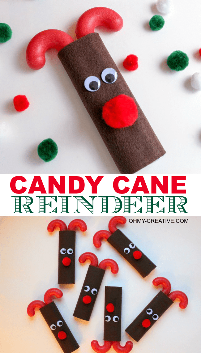 Easy Candy Cane Reindeer Kids Treat Or Craft With Free Printable Tag | OHMY-CREATIVE.COM