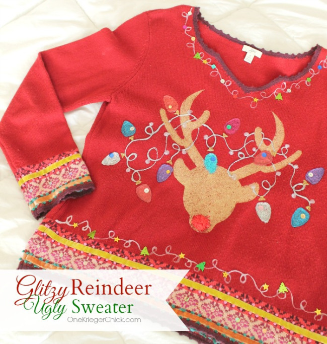 Make your own Glitzy Reindeer Ugly Sweater Perfect for the Holidays - OneKriegerChick.com