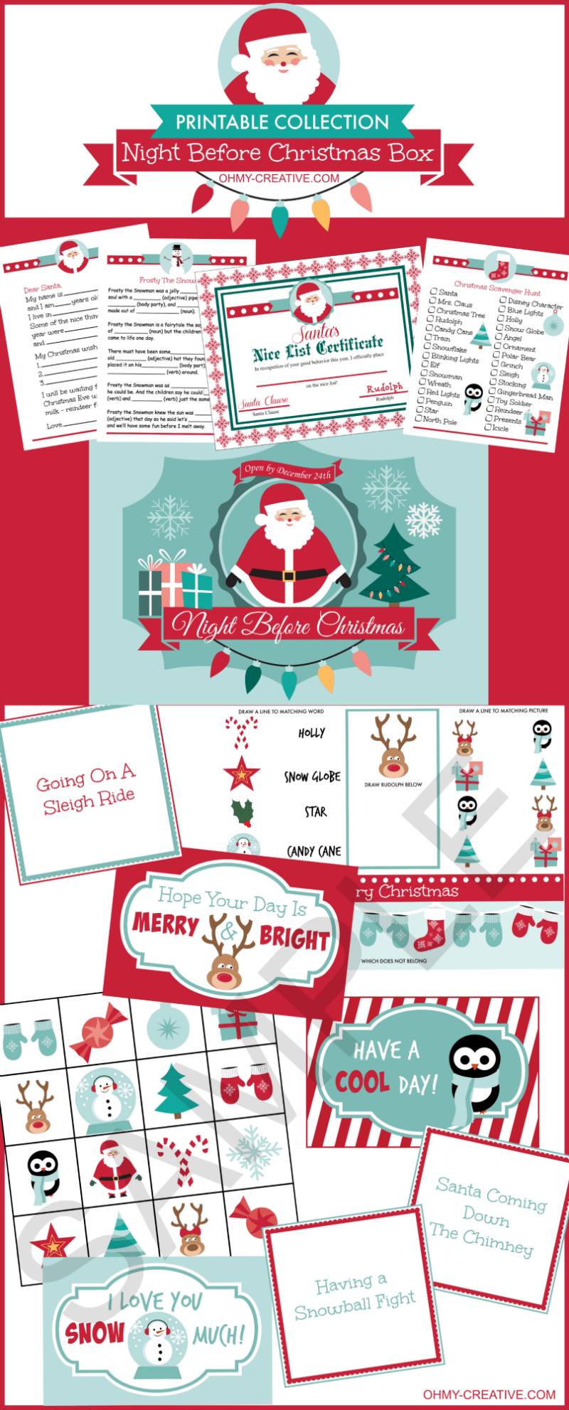 """From toddlers to teens start a new family tradition on Christmas Eve with this Night Before Christmas Box Printable Collection! Includes 18 Christmas Themed activity sheets, lunch box notes, games, Santa letter, """"Nice List"""" certificate and an adorable printable label for the Christmas Eve box! Fun for all ages! 