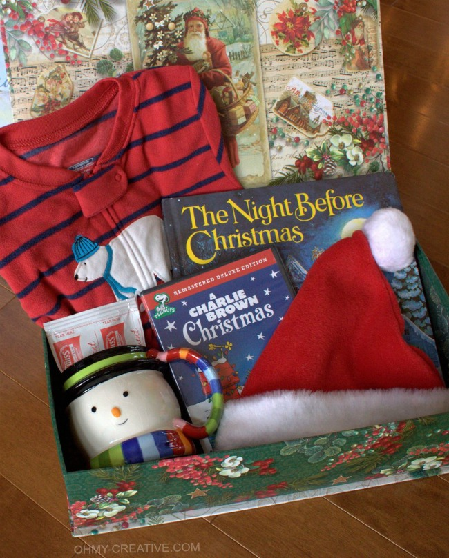 Night before christmas box with free printable label for Christmas crafts for young children