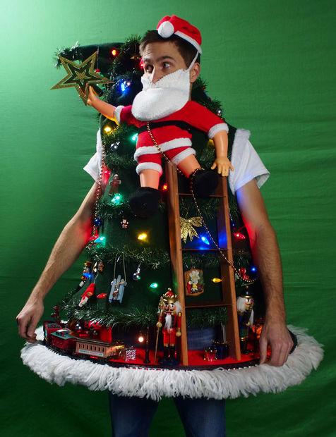 Santa Climbing The Tree ugly sweater