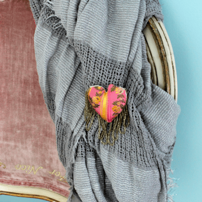 DIY Fabric Heart Pin