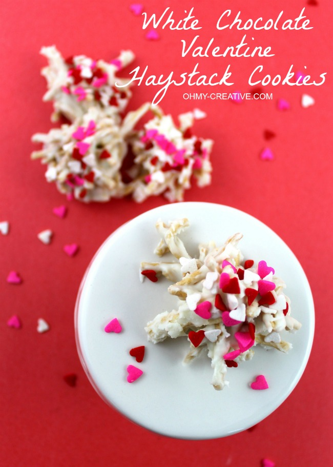 White Chocolate Valentine Haystack Cookies