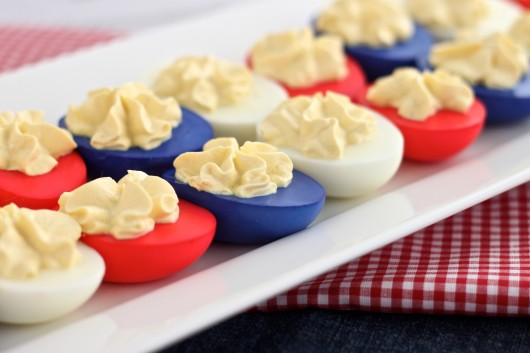 How to make Red White and Blue Deviled Eggs