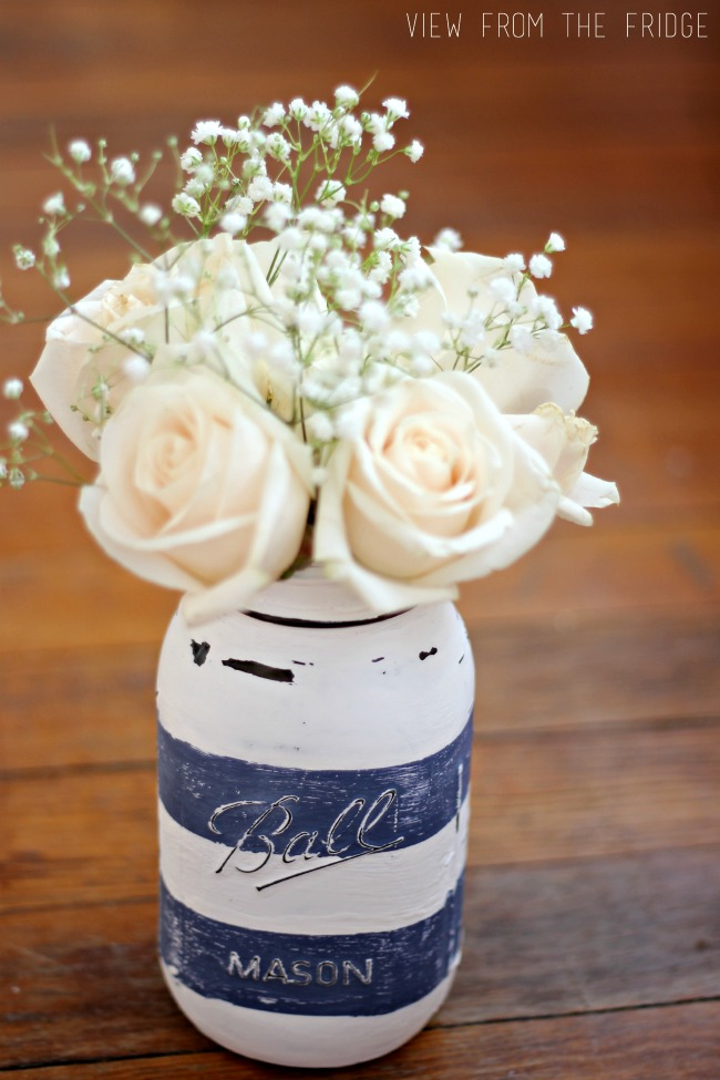 Preppy Distressed Mason Jar Vase