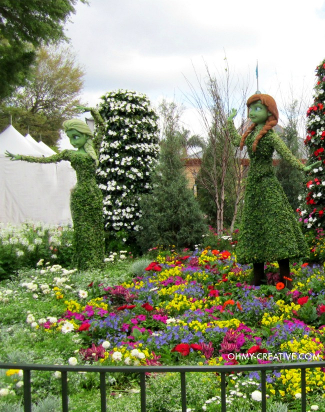 Anna and Elsa Frozen Topiaries Epcot 2015 International Flower and Garden Festival | OHMY-CREATIVE.COM