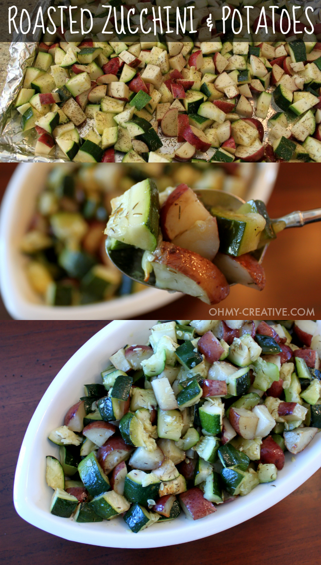Not only is this Roasted Potatoes And Zucchini Side Dish easy to make it is also delicious and compliments any main course!