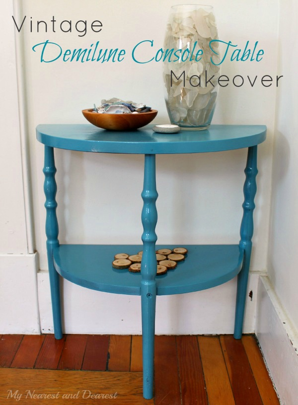 Vintage demilune console-table-makeover-with-Krylon-spray-paint.-Check-out-the-rough-shape-this-table-was-in-before