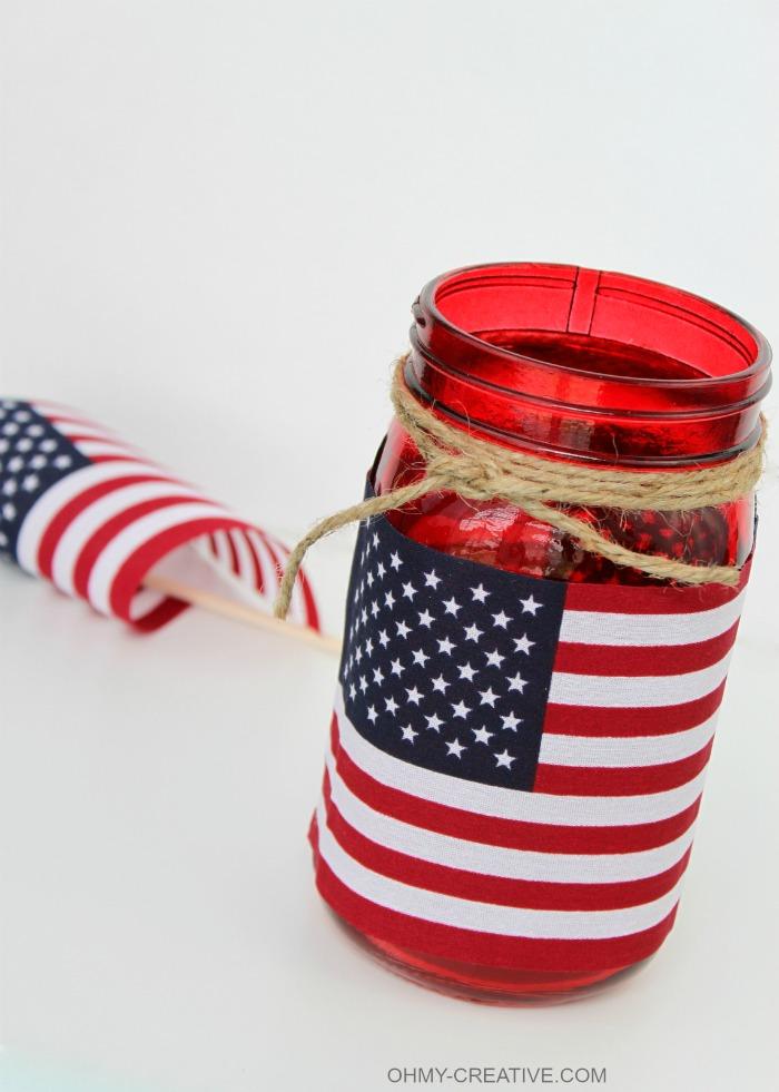 Flag Mason Jar Candle Holder