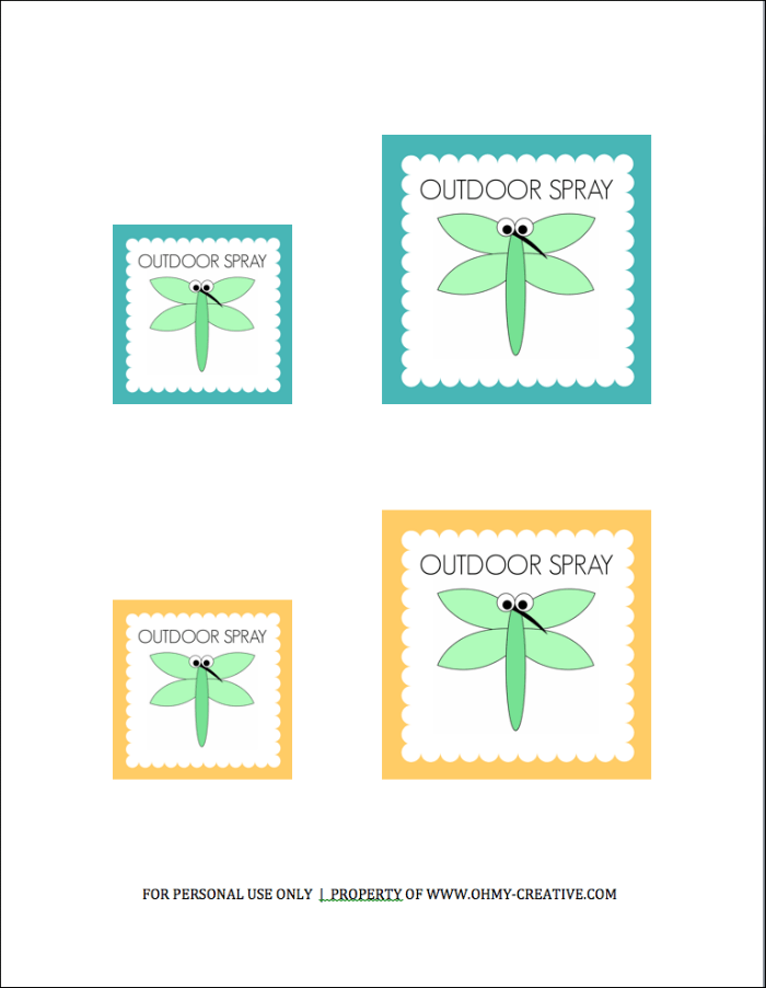 Free Printable Outdoor Spray Label for Chemical Free Outdoor Spray     OHMY-CREATIVE.COM