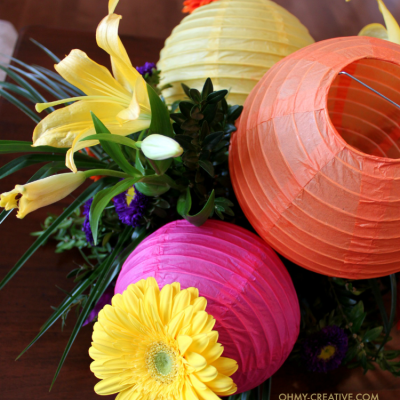 Gerbera Daisy And Paper Lantern Centerpiece