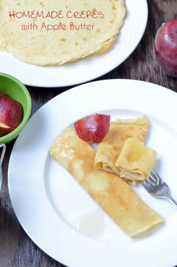 Homemade Crepes with Apple Butter breakfast recipes for kids