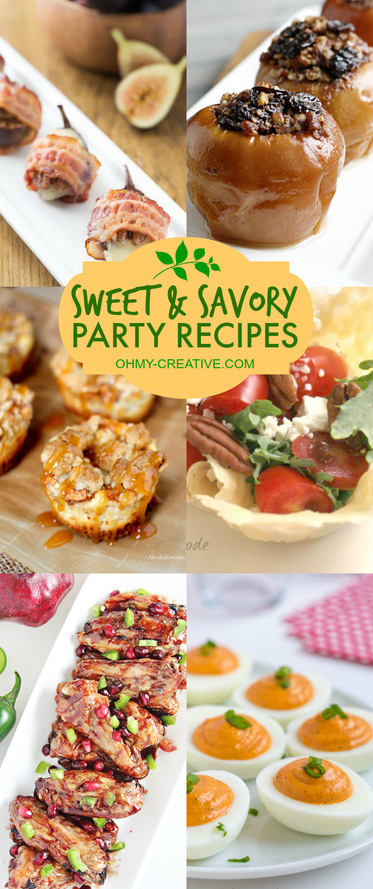 Sweet & Savory, I love them both! I am always looking for the perfect party recipes. I love to try new things when I entertain, so I put together a collection of Sweet and Savory Party Recipes to have on hand the next time I invite a few friends over or host a party!  |  OHMY-CREATIVE.COM