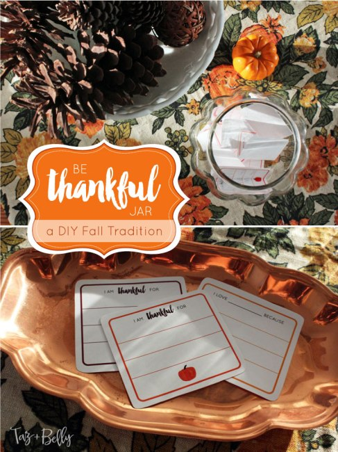 Looking for the perfect fall activity to share with your kids or start a new Thanksgiving Tradition? Practice being thankful for one another with this quick DIY 'Be Thankful' Jar! Includes Free Printable Thankful Cards! | OHMY-CREATIVE.COM