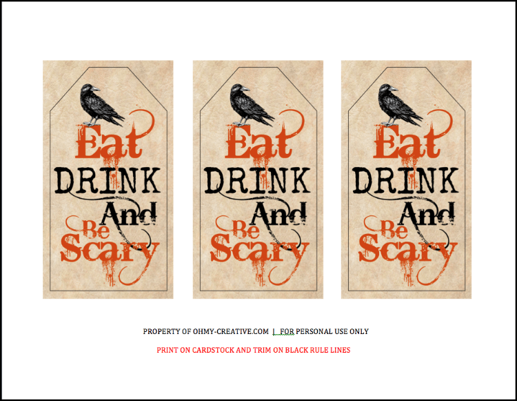 Eat drink and be scary free printable halloween gift tag a perfect halloween hostess gift head off to the halloween party with this eat drink negle Choice Image