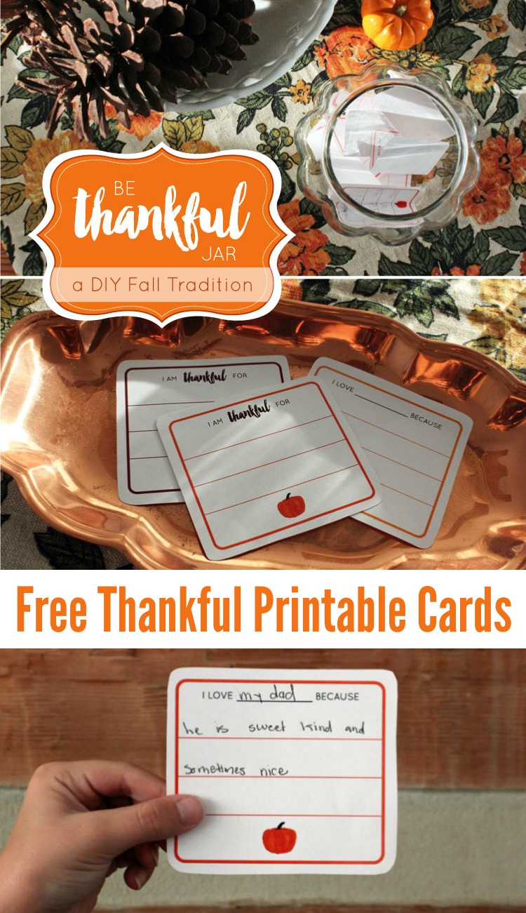 Looking for the perfect fall activity to share with your kids or start a new Thanksgiving Tradition? Practice being thankful for one another with this quick DIY Be Thankful Jar Printable Cards! Includes Free Printable Thankful Cards! | OHMY-CREATIVE.COM #thanksgivingprintable #thankfulcards #gratitudejar #thankfuljar