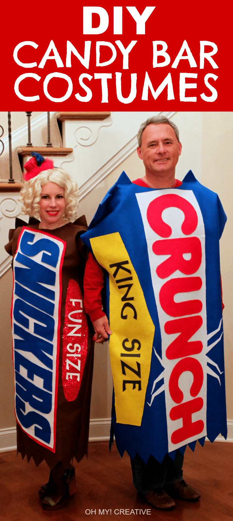 DIY Candy Bar Halloween Costume and Top Hat made out of felt. A fun Halloween costume for adults or kids! Includes a free downloadable letter templet! | OHMY-CREATIVE.COM