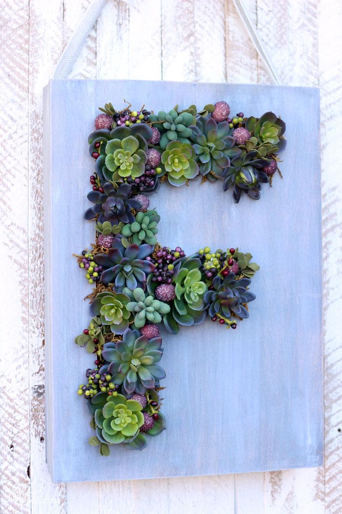 monogram succulent wreath