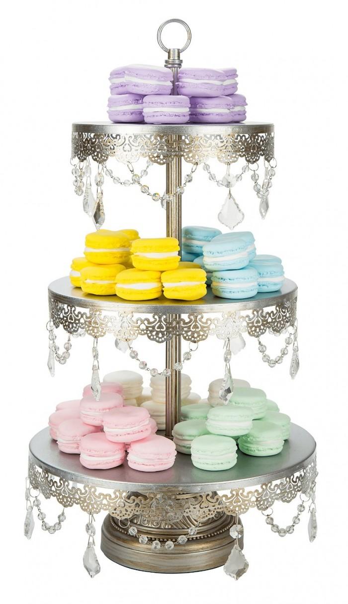 Antique 3 Tier Dessert Cupcake Stand Tower silver