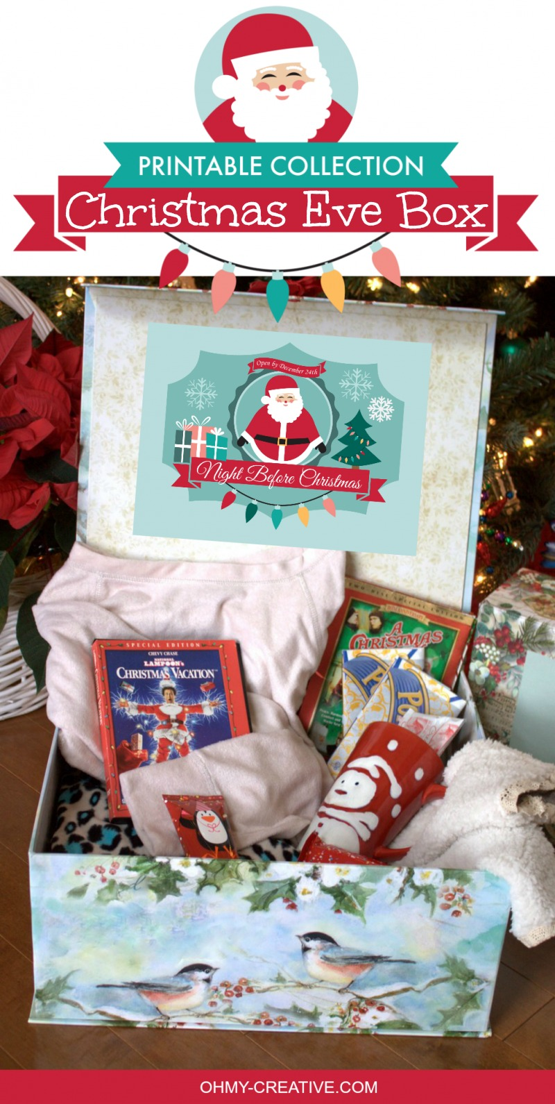 Christmas Eve Box Printables OHMY-CREATIVE.COM | Christmas Eve Gift Box | Christmas Eve Gift Box Ideas | Christmas Eve Traditions | The Night Before Christmas | Night Before Christmas Box | Things to do on Christmas Eve | Things to do on Christmas | Christmas Eve Gift | Christmas Eve | Kids Christmas Eve Box | Christmas Box