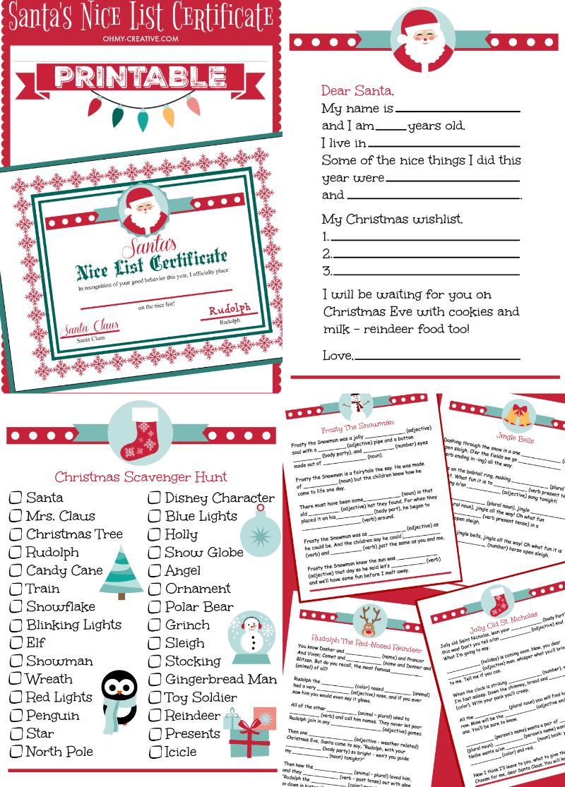 Adorable Christmas Printables for kids. Keep the kids busy with these Christmas activites and games! | OHMY-CREATIVE.COM