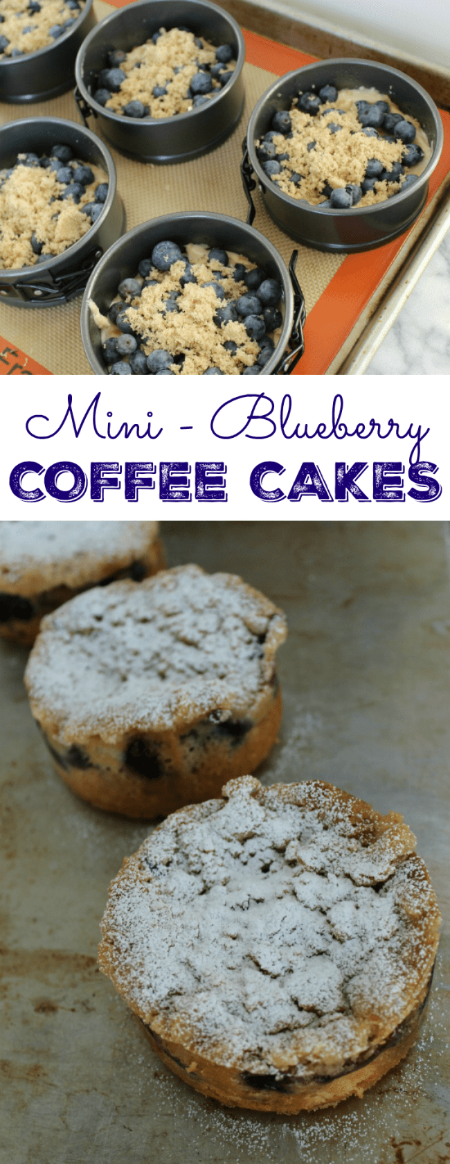 Streusel topping gives these Mini-Blueberry Breakfast Cakes a warm, cinnamon flavor and a bit of crunch. These coffee cakes are so moist and easy to make! |  OHMY-CREATIVE.COM | #blueberrycoffeecake #blueberrybreakfastcake #brunchrecipe #breakfastrecipe