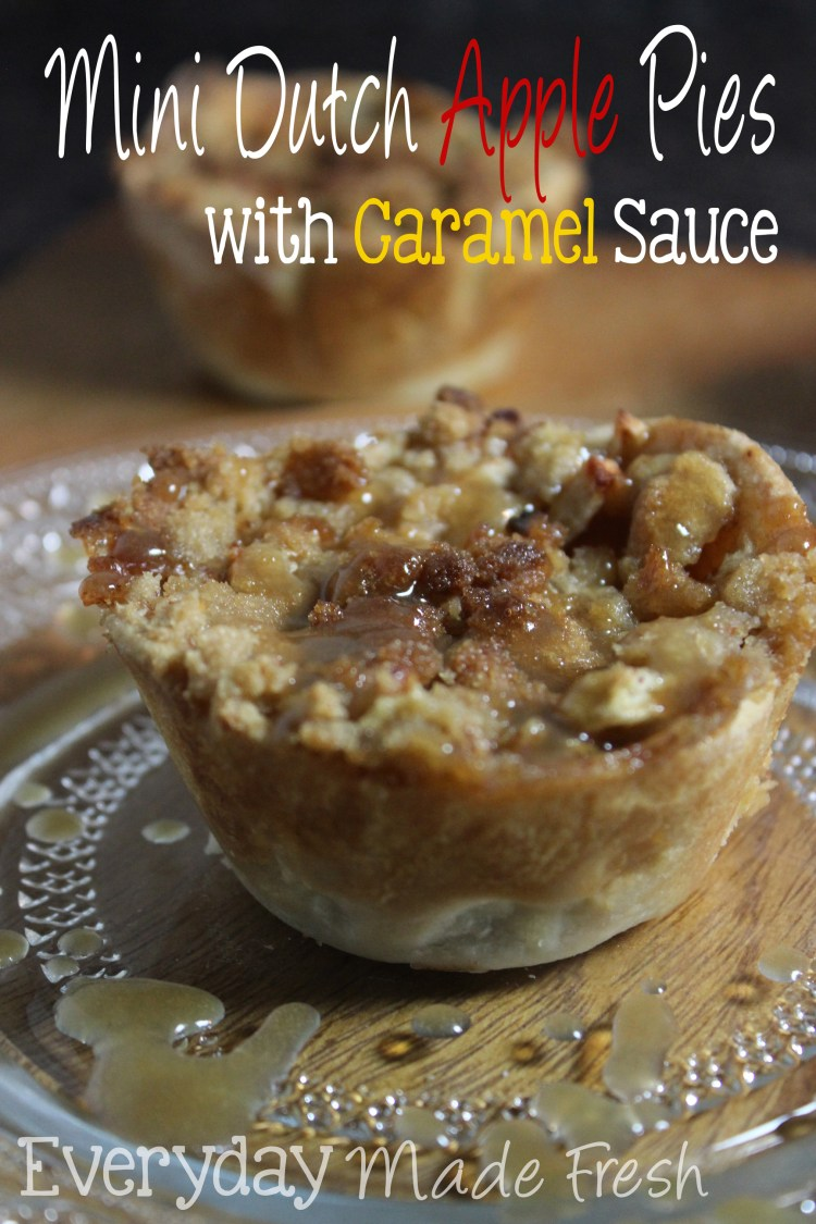 Mini Dutch Apple Pies with Caramel Sauce are perfectly portioned sized pies with a homemade caramel sauce that takes 5 minutes to make! These will be perfect for your next holiday gathering. | Everyday Made Fresh via OHMY-CREATIVE.COM