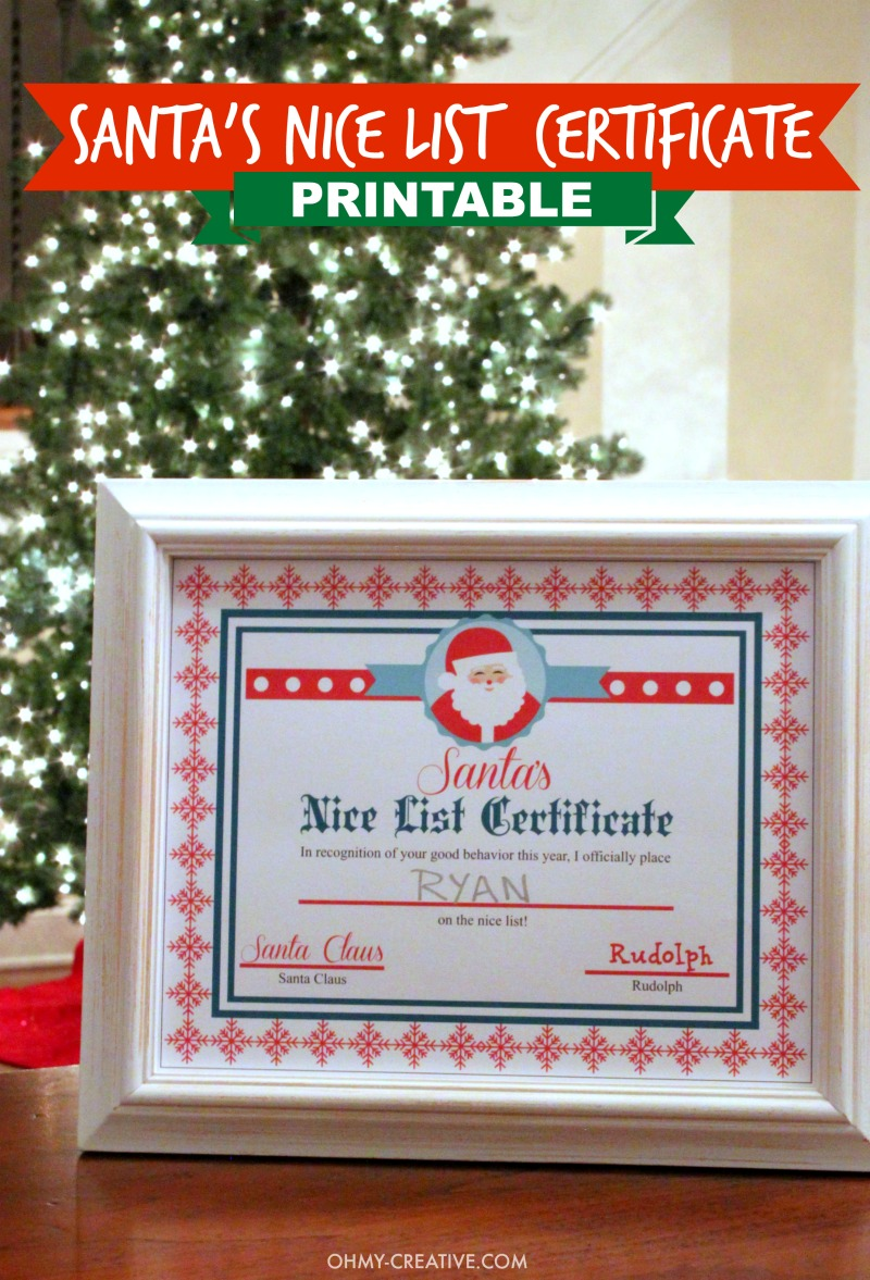 image about Printable Santa Nice List Certificate referred to as Xmas Printable Package - Oh My Inventive
